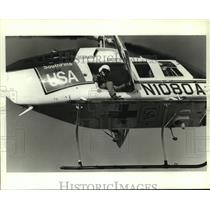 1990 Press Photo SouthFlite helicopter responding to Blakeley River drowning