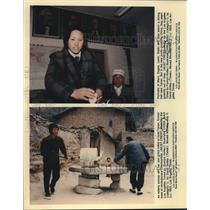 1993 Press Photo Portraits in dining hall and residents grinding millet in Yanan