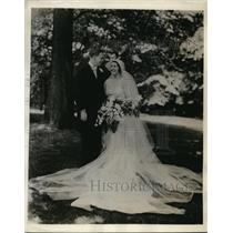 1932 Press Photo Miss Edith Wetherill and Mr. David Rowland wed in pennsylvania