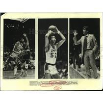 1987 Press Photo Los Angeles Lakers Basketball Players & Coach Action Shots