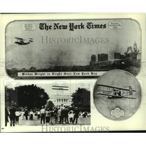 1909 Press Photo Wilbur Wright in flight over New York Bay and White House
