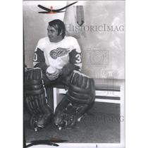 1972 Press Photo Detroit Red Wings Hockey Player DeJordy Seated Locker Room