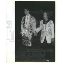 1985 Press Photo David Leigh and Friend in hand-painted Jackets. - RSC12401