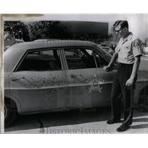 1968 Press Photo police car took gun shots Summit, Ill - RRX11419