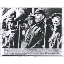 1951 Press Photo Liu Shao Chi Viewing Parade Peking - RSC08235