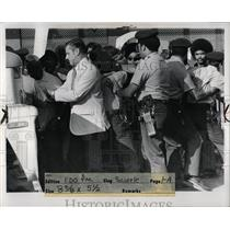 1973 Press Photo Chrysler plant workers strike guards - RRW87711