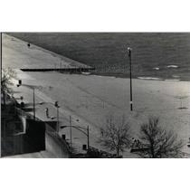 1988 Press Photo Bulldozers push sand Oak Street Beach - RRW61167