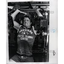 1977 Press Photo Athlete Working out in Nautilus Center - RRY75397