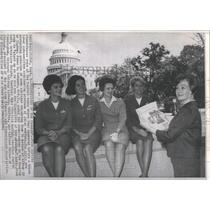 1965 Press Photo Five Airline Stewardesses Pose At the- RSA05761