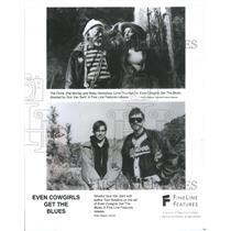 1994 Press Photo Pat Morita, Uma Thurman, Gus Van Sant, Tom Robbins on film set