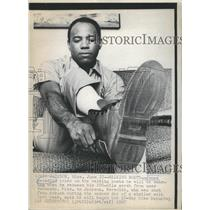 1967 Press Photo James Meredith Tries on the Walking Boots he Will Wearing Boots
