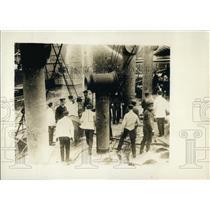 1913 Press Photo Men Aboard the Velturne Run a Fire Drill - XXB09979