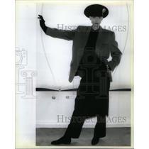 1985 Press Photo Donna Karan Jacket Body Suit Trousers - RRX36013