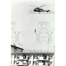 1975 Press Photo Tokyo Fire Department helicopter rescue demo