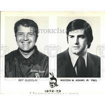 1976 Press Photo Bruins Coach Bep Guidolin and Weston W. Adams, Jr. President