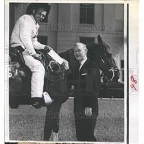 1961 Press Photo Pony Express Rider Chuck Horne & Florida Governor Farris Bryant