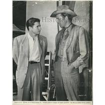 "1950 Press Photo Actors Andy Murphy and Jimmy Stewart in ""Winchester 73"""