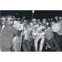 "1971 Press Photo Students use ""bulldozer"" tactics & riot police"