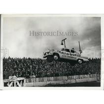 1956 Press Photo Stunt Car Driver Making Jump Edinburgh Displays - KSB46279