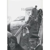 1972 Press Photo 50 Freed Jumbo Passengers Landed In Munich