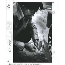 1982 Press Photo Benny Boom Boom Koske Daredevil Wires Explosives - RSH78069