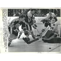 1974 Press Photo Tony Esposite, Bobby Schmautz and Gregg Sheppard - RSH21847