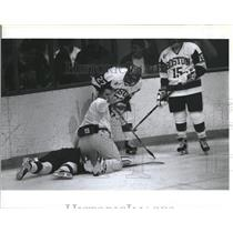 Press Photo Medic Checks On Player During Boston University Hockey Game