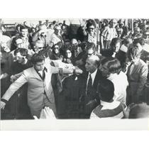 1971 Press Photo Giorgio Almirante Walks through a Crowd of Supporters