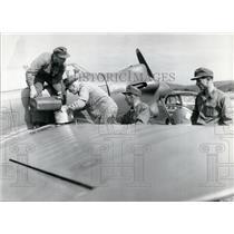1963 Press Photo Military Plane Gets Refueled.