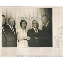 1963 Press Photo Elmo Hutchinson honored his retirement at Local post office.