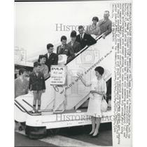 1962 Press Photo members of Van Damme family leaving San Francisco Jeff, Lieve,