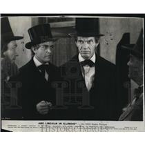 1940 Press Photo Actors Harvey Stephens and Raymond Massey in Abe Lincoln In Ill