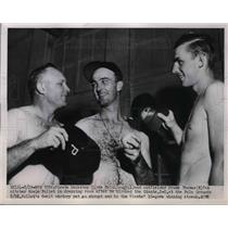 1951 Press Photo Pirate's Clyde McCullough, Frank Thomas, and Howie Polle