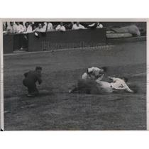 1934 Press Photo Chapman Tagged Out At 3rd Attempting Steal In Yankee Win