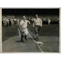 1929 Press Photo John Kieran, Alan Gould, Field Day at Yankee Stadium