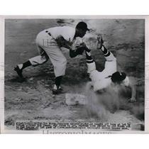 1951 Press Photo Senators Irv Noren caught off base by Indian Pitcher Bob Lemon.