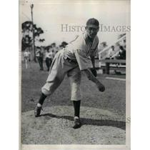 1936 Press Photo Manuel Salvo Rookie Pitcher Spring Training Boston Red Sox