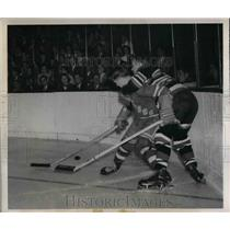 1949 Press Photo Pat Egan of Rangers vs Black Hawks Jim Conacher