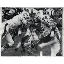 1970 Press Photo Jet Quarterback Al Woodall, Jim Dunaway, Al Cowlings of Bills