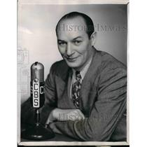 """1944 Press Photo Ted Husing, CBS Ace sports announcer in """"Stop Watch""""."""
