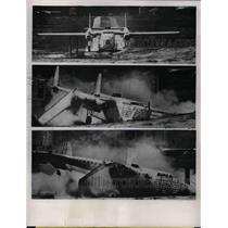 1953 Press Photo C-82 crashing of Lewis Fight Propulsion Laboratory.