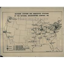 1927 Press Photo United States Map For Network Systems National Broadcasting