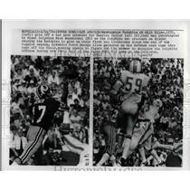 1973 Press Photo Redskins QB Bill Kiler vs Dolphins Nick Buonconti