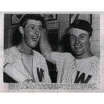 1954 Press Photo Washington Victory over Indians Eddie Yost Mickey McDemott