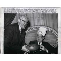 1956 Press Photo Bears Owner George Hallas Presents Ball To Coach Paddy Driscoll
