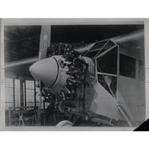 1928 Press Photo Installation of Wright Engine on Airplane