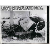1957 Press Photo Crashed helicopter of Maj. Alan Barnette in Pa.