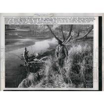 1958 Press Photo Fargo, N.Dak, searchers along Red River look for boy