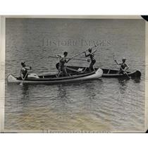 1926 Press Photo Canoe Tilting Championship Practice in California