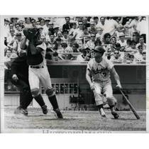 1966 Press Photo Bob Taylor Mets Catcher Grabs Jim Lefebvre Dodgers Pop Bunt